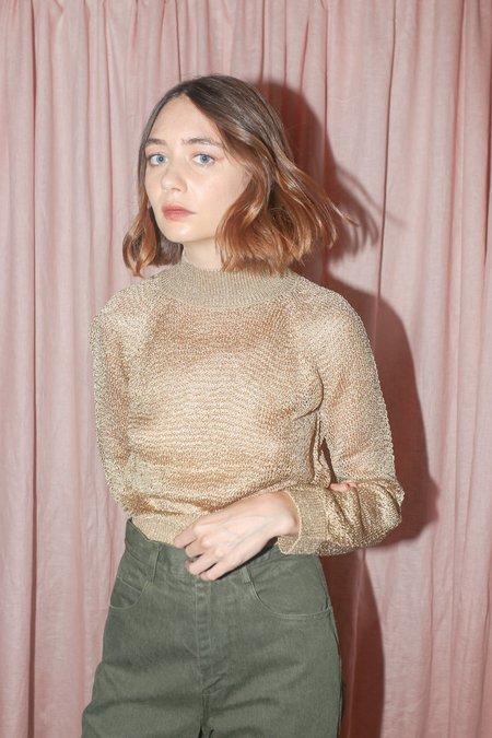 Mila Zovko Joni Long Sleeve Wide Mock Neck in Gold