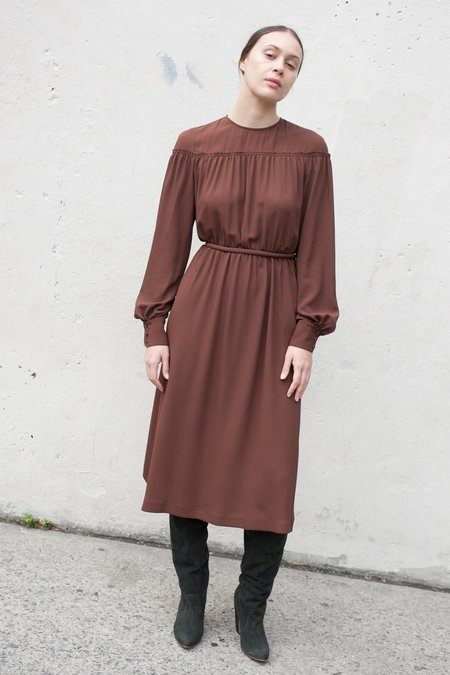 Veronique Leroy Dress with Tie in Chestnut