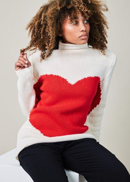 Ter et Bantine Oversize Heart Knit Sweater