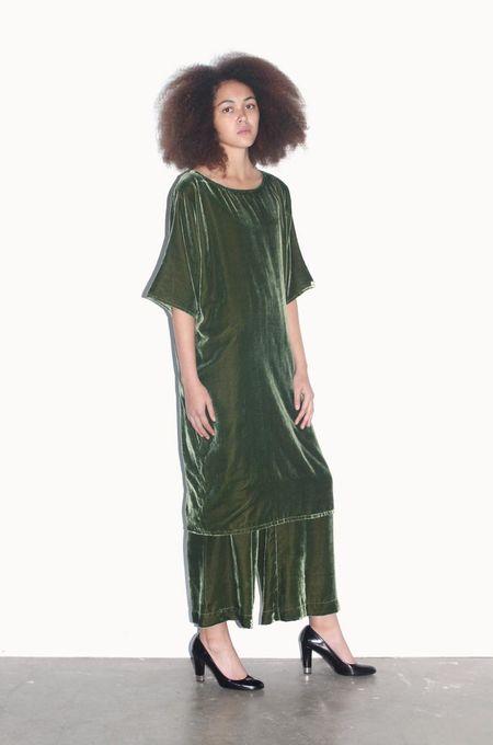 Strathcona Deep Green Silk Velvet Tunic Dress - Online Only