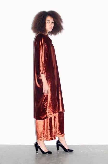 Strathcona Rust Red Silk Velvet Tunic Dress - Online Only