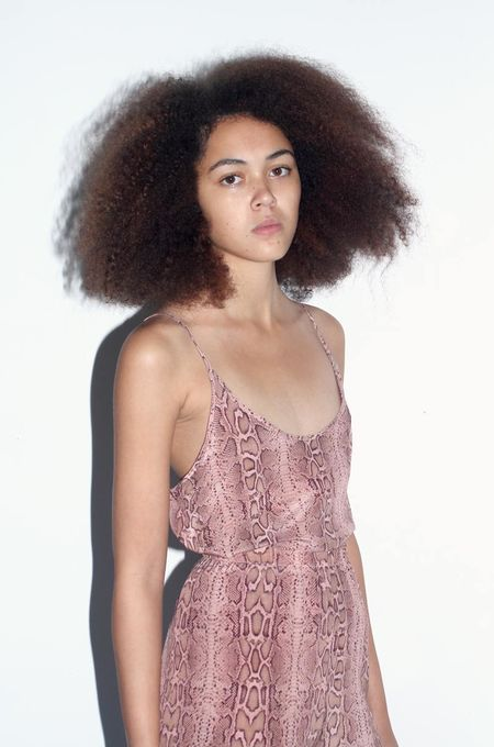 Strathcona Pink Snake Skin Silk Camisole