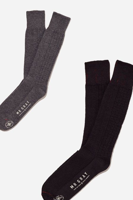 Mr. Gray Custom Aran Knit Pattern Sock - Charcoal Heather + Black