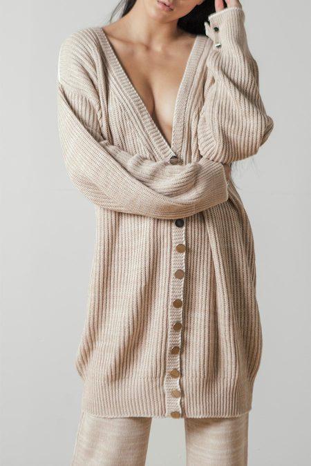 Maria Dora Cashmere Cotton Long Cardigan in Beige/Ivory