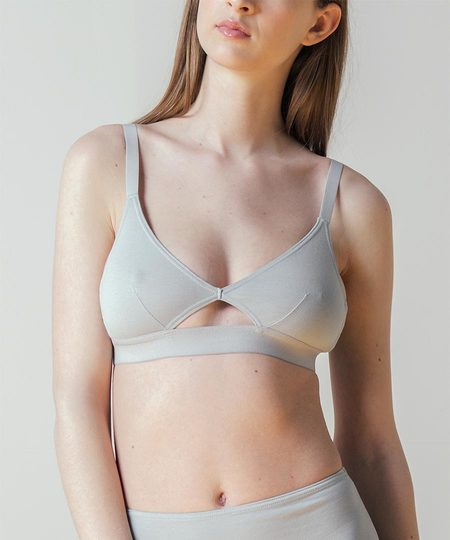 The Nude Label Cut-out Bra in Smoky Blue