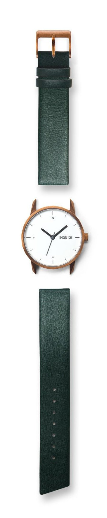Tinker Watches 34mm Copper Watch Green Strap