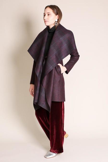 Harris Wharf London Blanket Coat in Burgundi