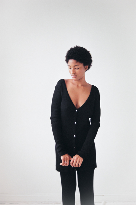 Suzanne Rae Ribbed Knit Cardigan in Black