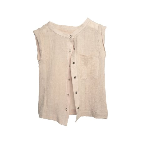 Kids Telegraph Ave Vented Vest - Cream Cotton Linen