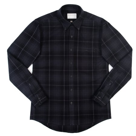 Raleigh Denim Workshop Welt Pocket Button Up—Charcoal Plaid