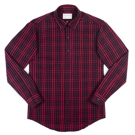 Raleigh Denim Workshop Welt Pocket Button Up—Hot Pink Check