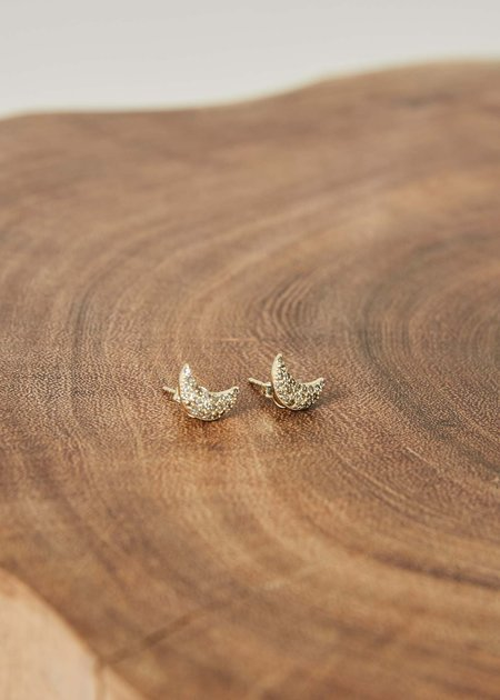 Jewels by Piper Crescent Moon Diamond Earrings