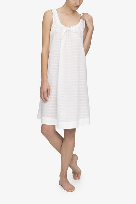 The Sleep Shirt Sleeveless Nightie - White Sheer Stripe