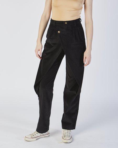 unisex 69 corduroy Front flap pants - black