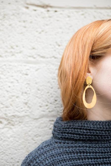 Modern Weaving Large Oval Earrings - Matte Brass