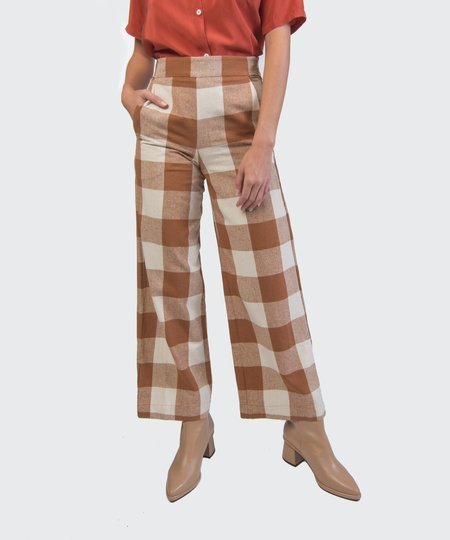 Ali Golden Chestnut Plaid High-Waist Pants