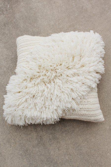 Artist Alpaca Handmade Alta Fringe Pillow Ivory