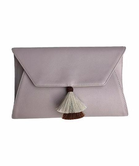 Oliveve Cleo Envelope Clutch in Buff Cow Leather with Horsehair Tassel