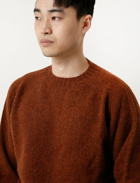Neighbour Mens Shetland Sweater - Rust