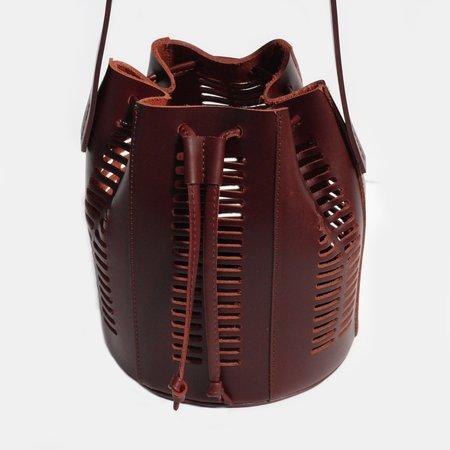 Modern Weaving Mini Die Cut Bordeaux Bucket Bag
