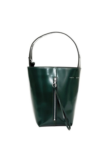 KARA Bottle Green Polished Leather Panel Pail
