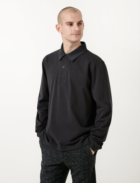 Margaret Howell MHL Wide Placket Polo Shirt - Matte Jersey Ink