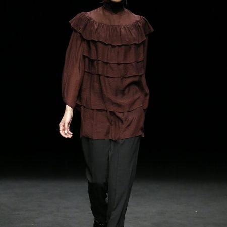 LOA Pleated Dress - Maroon