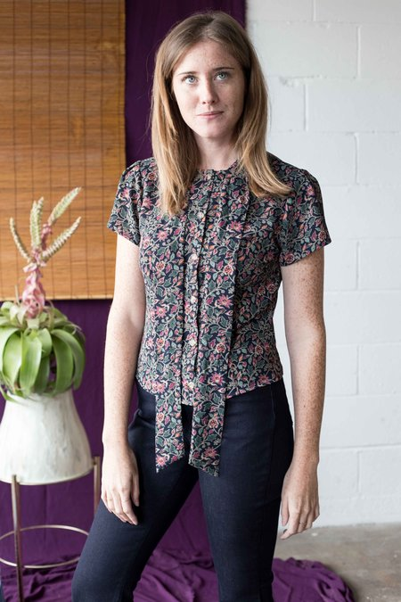 Birds of North America Ibis Top - Navy Floral