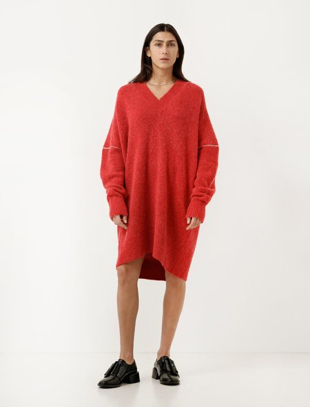 MM6 by Maison Margiela V-Neck Sweater Dress - Tomato Red