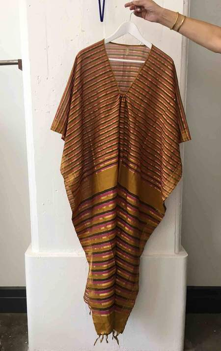 Two Ochre Caftan with Pink and Gold Stripes