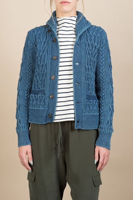 RRL Indigo Cotton Shawl Cardigan