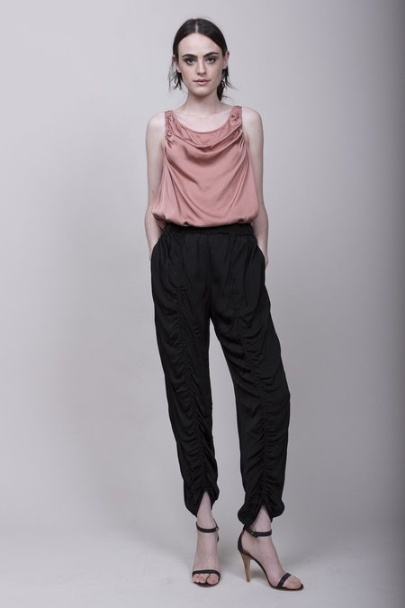 Raquel Allegra Liquid Satin Flight Pant - Black