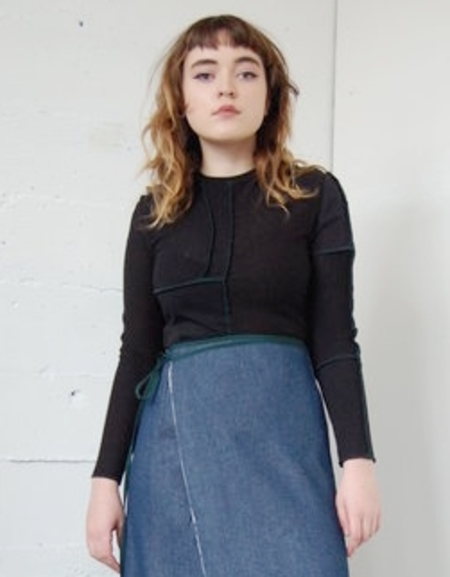 Alexa Stark Patchwork Knit Top - Black