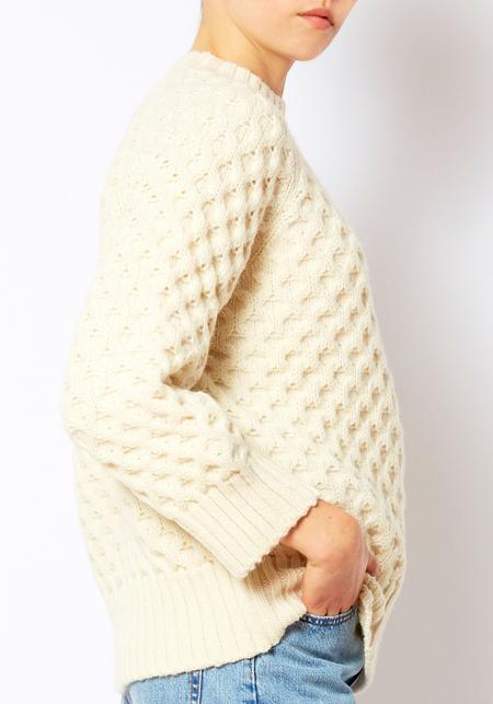 Micaela Greg Cream Honeycomb Sweater