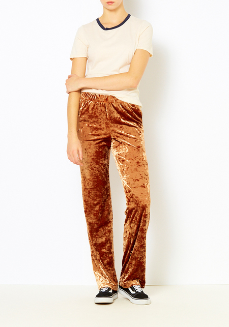 Tibi Rust Stretch Velvet Pant