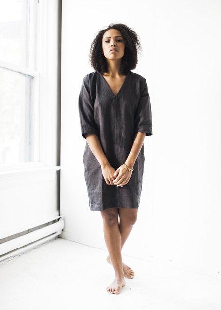 Korinne Vader Handmade Linen V-Neck Dress in Charcoal