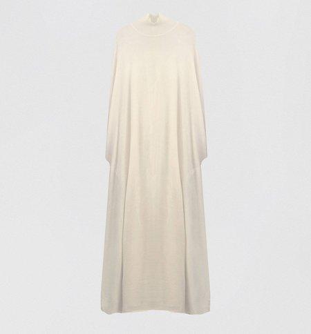 Ryan Roche Mock T Neck Cape Dress - Ivory