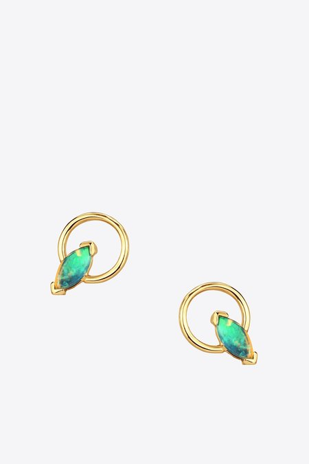 Wwake Inc. Small Marquise Opal Earrings