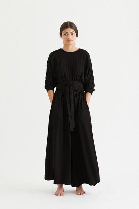 Black Crane Wool Blend Wide Jumper - Black