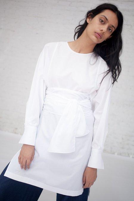 Tomorrowland Collarless Shirt Dress in White