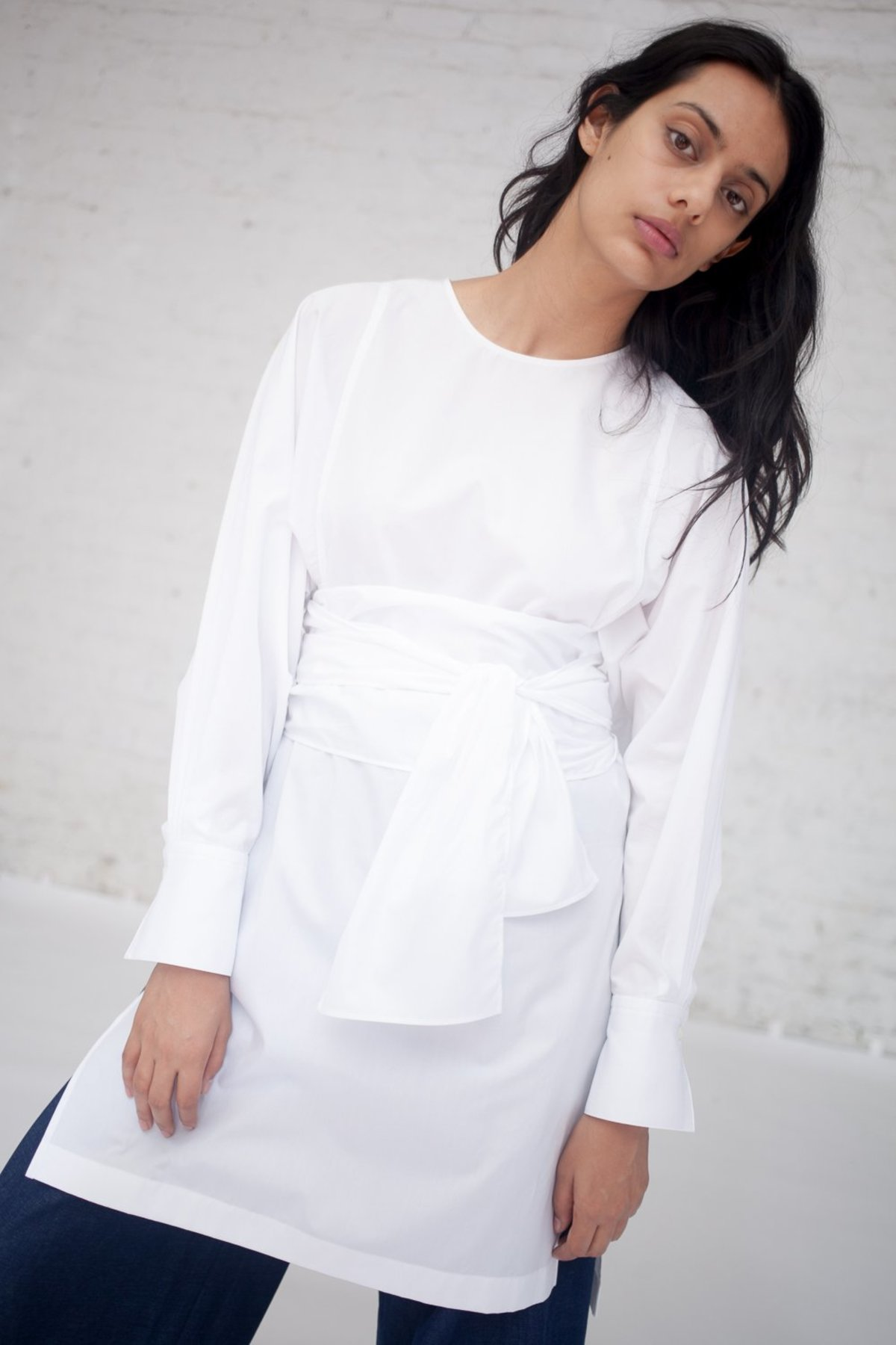 Tomorrowland Collarless Shirt Dress In White Garmentory