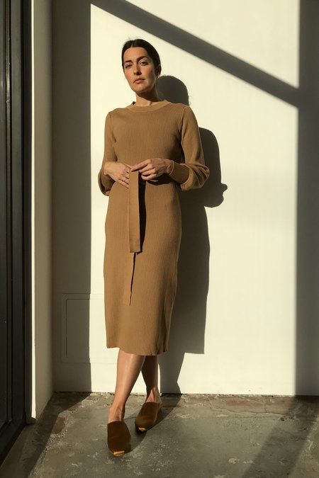 Mixed Business Khaki Crewneck Sweater Dress
