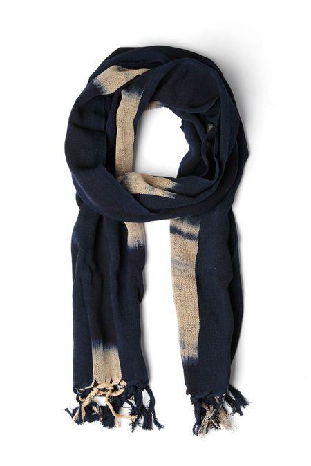 Kiriko Karu-Ori Indigo Faded Stripes Scarf