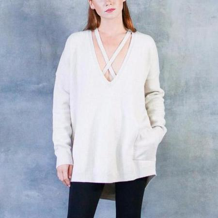 Humanoid Tyles Deep V-Neck Sweater in Dust