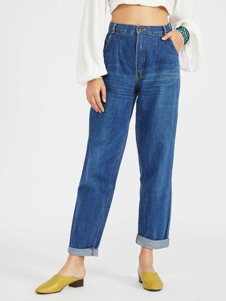 Portia & Manny Vintage Vintage Pleated Denim Trouser