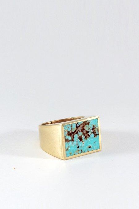 Legier Gold Turquoise Signet Ring Square