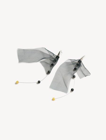 Lemaire Long Fantom Earrings Navy