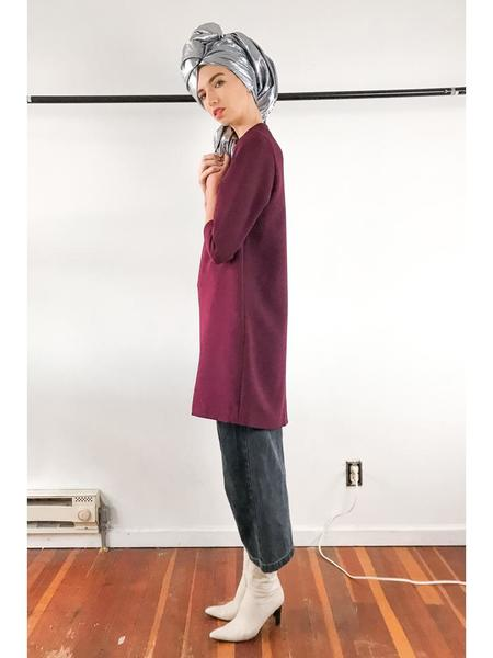 Kaarem Pure 3/4 Mock Neck Dress - Burgundy