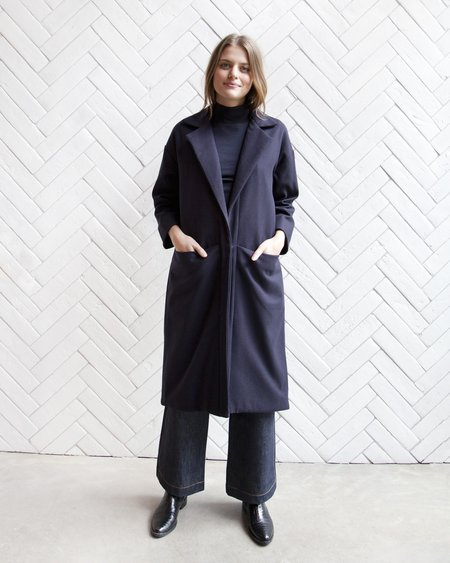 Esby Claire Wool Duster - Navy