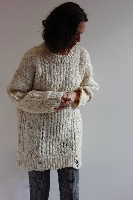 R13 Oversized cable crewneck sweater